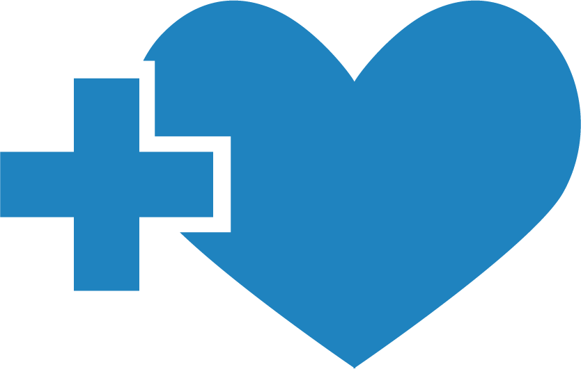 """Adoption Icon depicting a heart interconnected with a """"plus"""" symbol."""