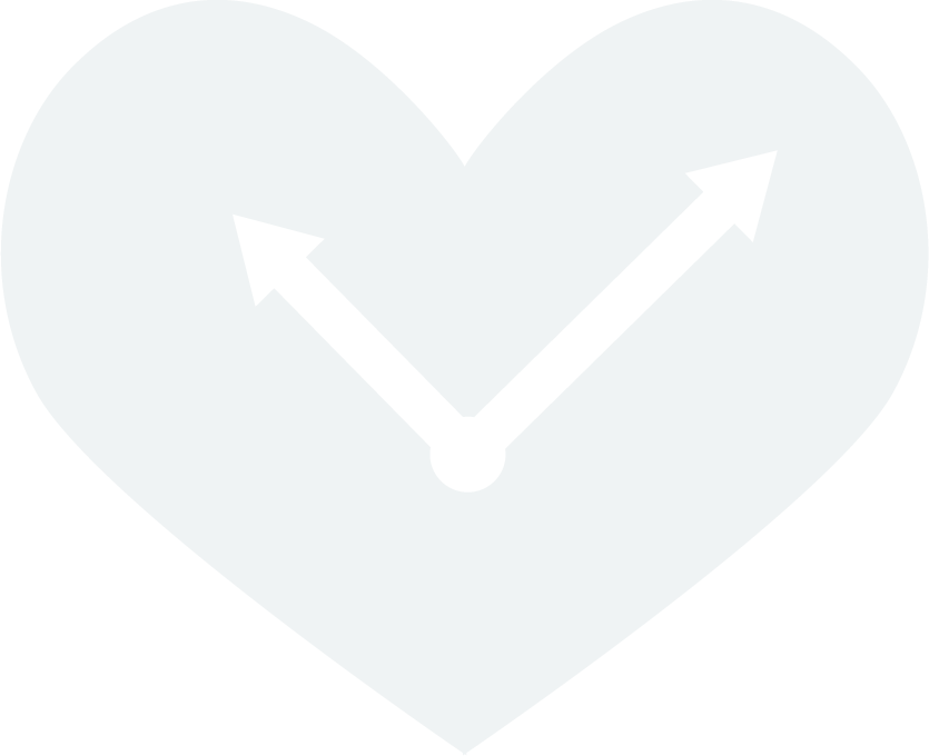 Volunteer Icon depicting a heart with clock arms inside,