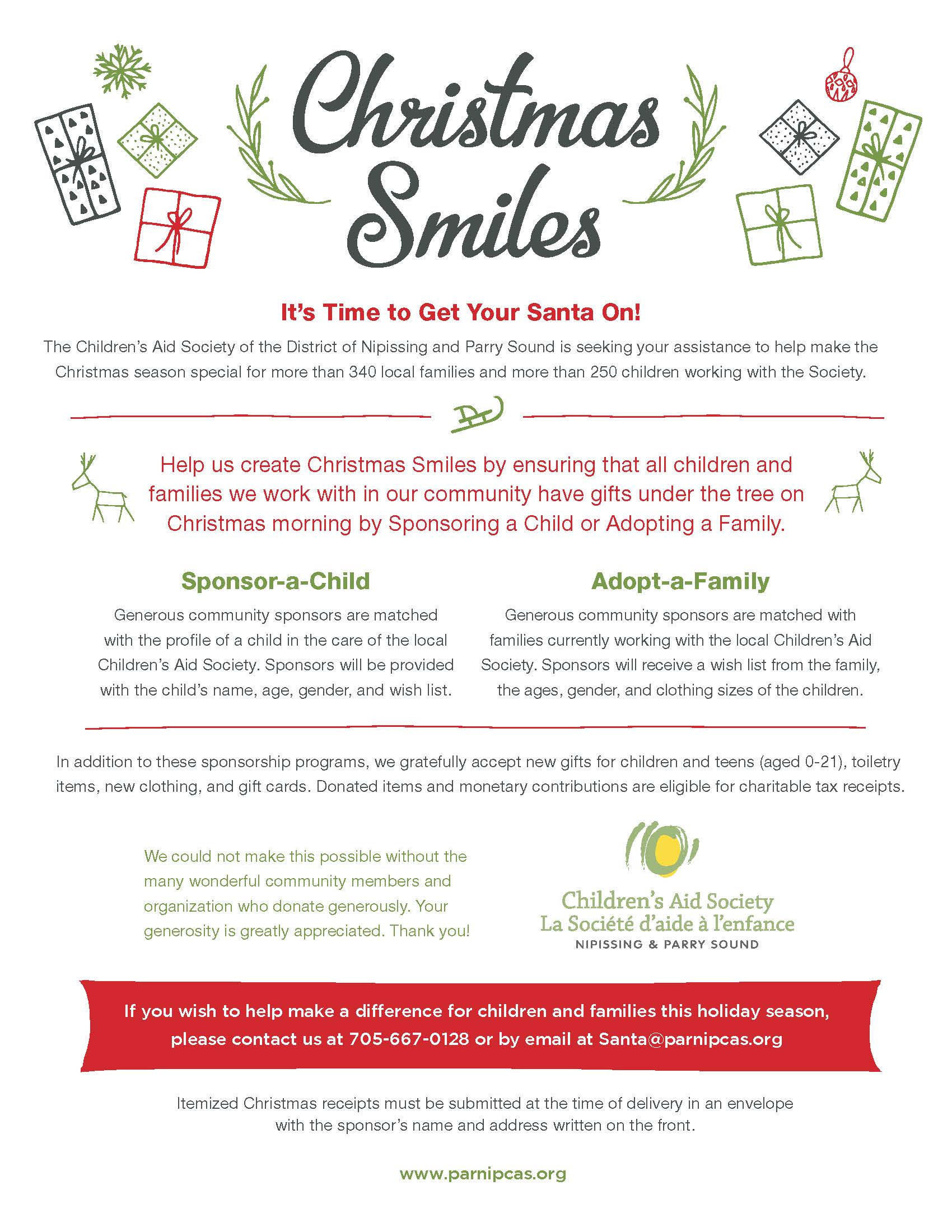 Example of the Christmas Smiles Flyer 2019 in ENGLISH