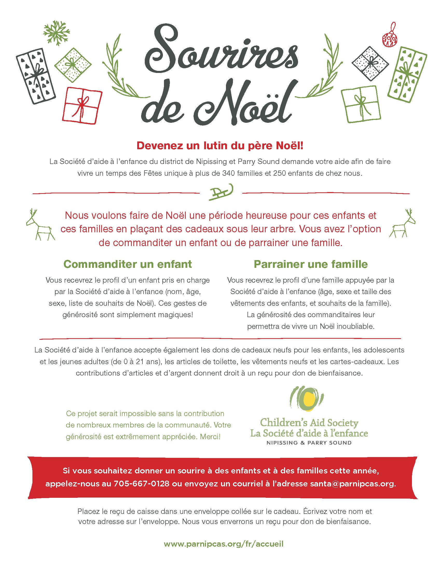 Example of the Christmas Smiles Flyer 2019 in FRENCH