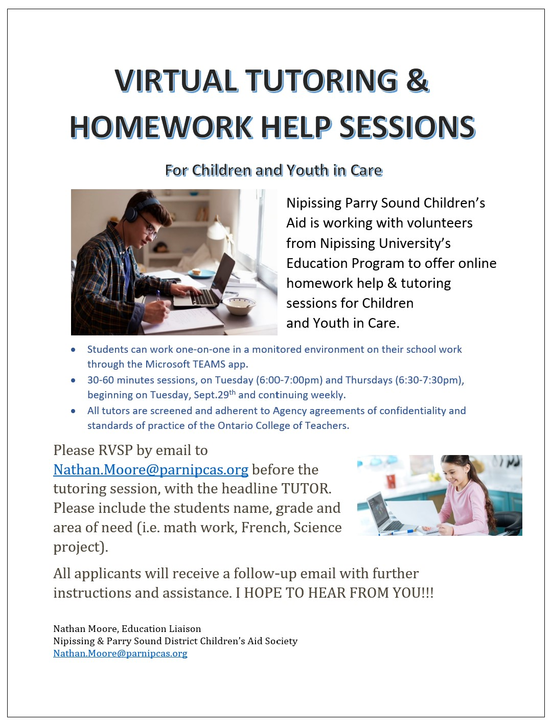 Virtual Tutoring & Homework Help Sessions